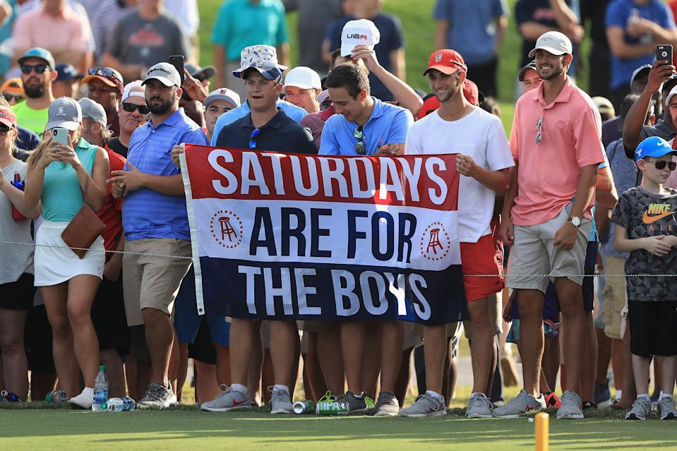 ATLANTA, GA - SEPTEMBER 22:  Fans hold a Barstool Sports flag during the third round of the TOUR Championship at East Lake Golf Club on September 22, 2018 in Atlanta, Georgia.  (Photo by Sam Greenwood/Getty Images)