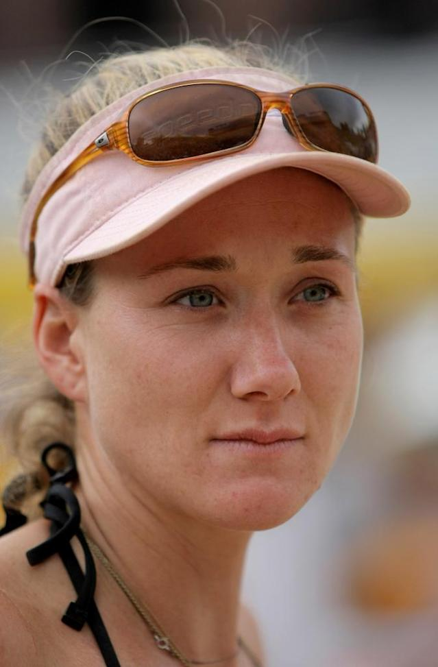 Kerri Walsh in action as she and teammate Misty May-Treanor defeated Annett Davis and Jenny Johnson Jordan in the Women's Final of the 2008 AVP Crocs Slam Boulder Open at Folsom Field on July 6, 2008 in Boulder, Colorado.