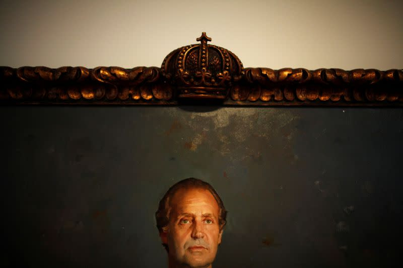 """A picture of Spanish King Juan Carlos by Spanish painter Felix Revello de Toro is seen at the exhibition """"The Spanish kings in Malaga: from Isabel The Catholic to Juan Carlos I"""" at the MUPAM in Malaga, southern Spain"""