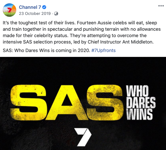 Channel 7 announced a local version of the British hit SAS: Who Dares Wins was 'coming in 2020'. Photo: Facebook/channel7.