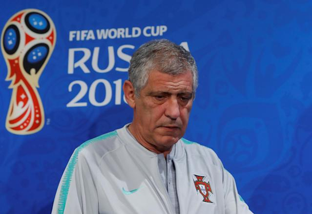 Soccer Football - World Cup - Portugal Press Conference - Luzhniki Stadium, Moscow, Russia - June 19, 2018 Portugal coach Fernando Santos during the press conference REUTERS/Sergei Karpukhin