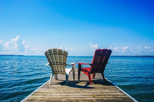 Retirement investing chairs by the lake