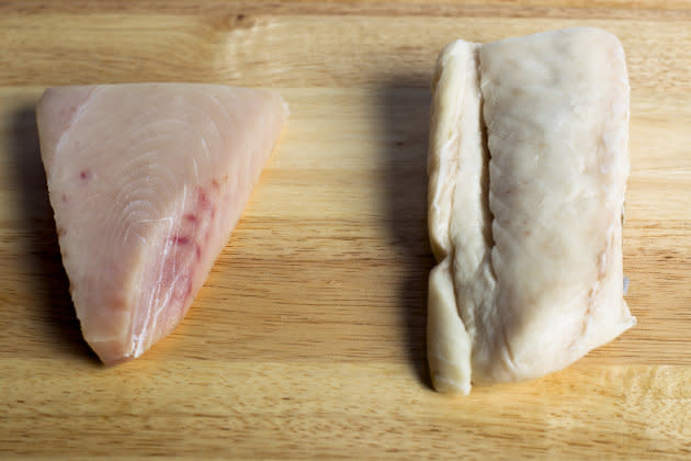 Albacore tuna, left, and escolar, right.