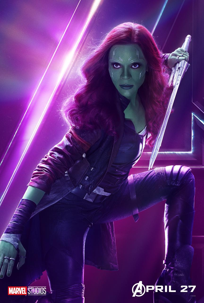<p>Zoe Saldana is one of Thanos's adopted daughters with a score to settle. (Photo: Marvel Studios) </p>