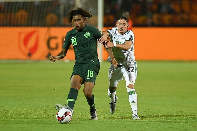 Alex Iwobi (L) scored twice as Nigeria took a four-goal lead before collapsing in a 4-4 draw against Sierra Leone Friday.