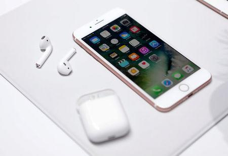 FILE PHOTO: The Apple iPhone 7 and AirPods are displayed during an Apple media event in San Francisco