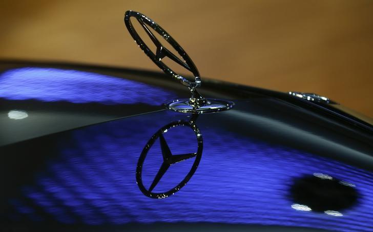 A car bonnet emblem of a Mercedes-Benz car is seen at the annual news conference of Daimler AG in Stuttgart