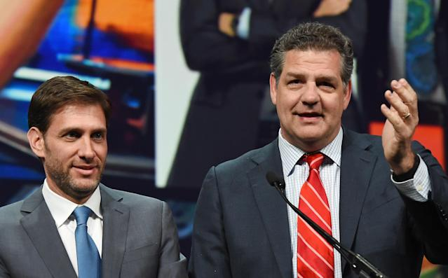 """Mike Golic, right, has been holding down the ESPN Radio morning slot since 2000, when """"Mike & Mike in the Morning"""" debuted. (Ethan Miller/Getty Images)"""