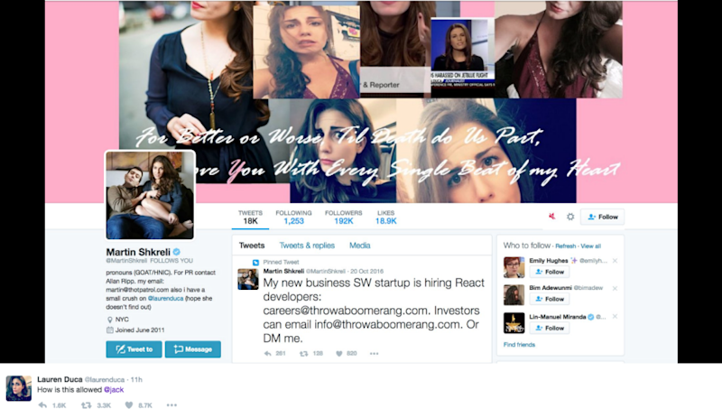 A collage featuring Duca on Shkreli's account was also reported.