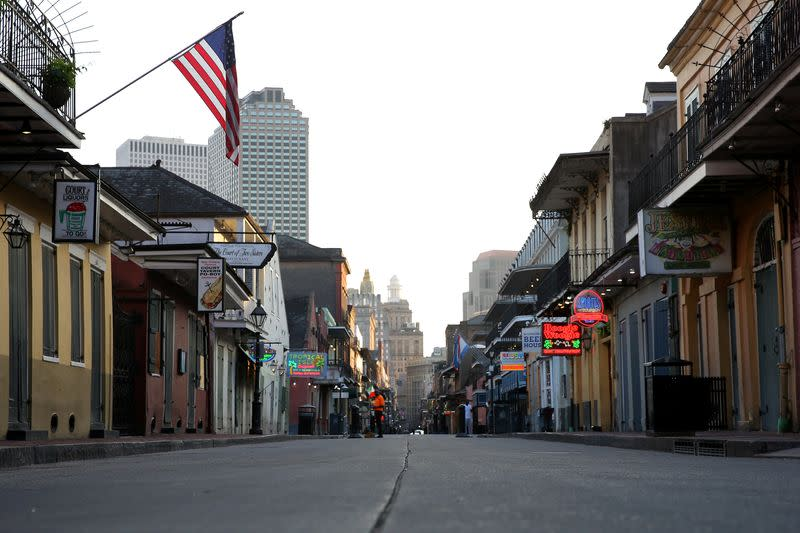 FILE PHOTO: A view of Bourbon Street amid the outbreak of the coronavirus disease (COVID-19), in New Orleans