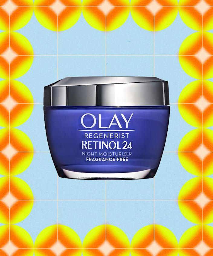 """<strong><h2>Olay Retinol 24 Night Moisturizer </h2></strong><br><strong>Best for:</strong> Brightening and smoothing<br> <br><strong>How it works: </strong>Retinol is a notorious overachiever — it can smooth and brighten skin, improve dark spots, and minimize the look of pores. This formula pairs Olay's retinoid complex with vitamin B3 to deliver results <em>gently. </em><br><br><strong>Olay</strong> Regenerist Retinol 24 Night Moisturizer, $, available at <a href=""""https://go.skimresources.com/?id=30283X879131&url=https%3A%2F%2Fwww.cvs.com%2Fshop%2Folay-regenerist-retinol-24-night-facial-moisturizer-1-7-oz-prodid-397983"""" rel=""""nofollow noopener"""" target=""""_blank"""" data-ylk=""""slk:CVS (Promo Offers Available)"""" class=""""link rapid-noclick-resp"""">CVS (Promo Offers Available)</a>"""
