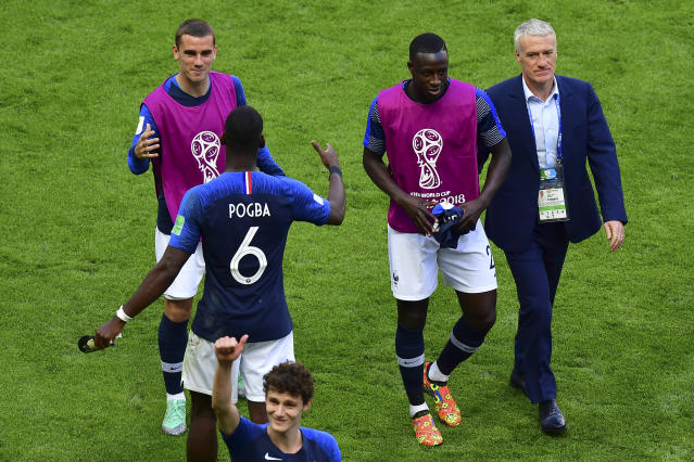 <p>France players leave the pitch after getting off to a winning start in the World Cup </p>