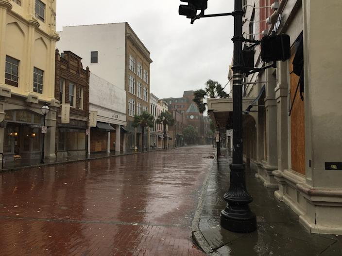 Wind and rain hits empty streets in Charleston, South Carolina, on Sept. 5, 2019, as Hurricane Dorian moves along the southeastern US coast. - (Photo: Lucie Aubourg/AFP/Getty Images)