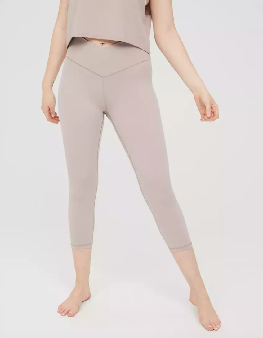 Aerie OFFLINE Real Me High Waisted Cropped Crossover Legging in Cocoa Cream