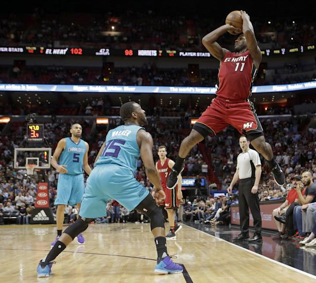 "<a class=""link rapid-noclick-resp"" href=""/nba/players/5010/"" data-ylk=""slk:Dion Waiters"">Dion Waiters</a>, mid-double-pump and mid-delivering-in-the-clutch. (AP)"