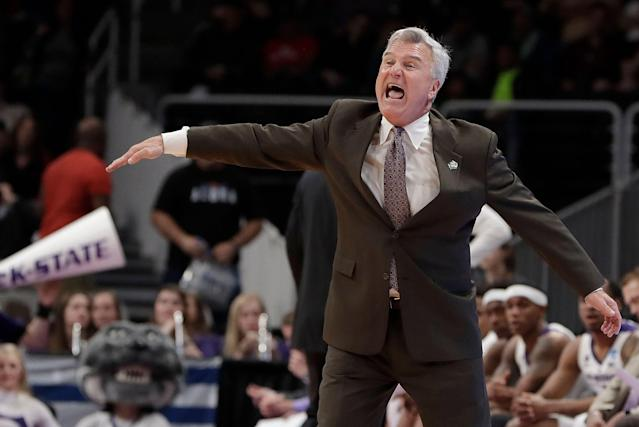 Kansas State head coach Bruce Weber gestures during the first half of a first round men's college basketball game in the NCAA Tournament against UC Irvine Friday, March 22, 2019, in San Jose, Calif. (AP Photo/Chris Carlson)