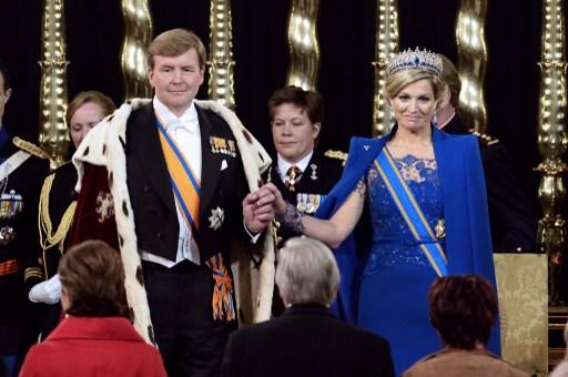Dutch King Willem-Alexander, Queen Maxima and members of the royal household during the inauguration for King Willem-Alexander of the Netherlands at Nieuwe Kerk (New Church) in Amsterdam on April 30, 2013. 