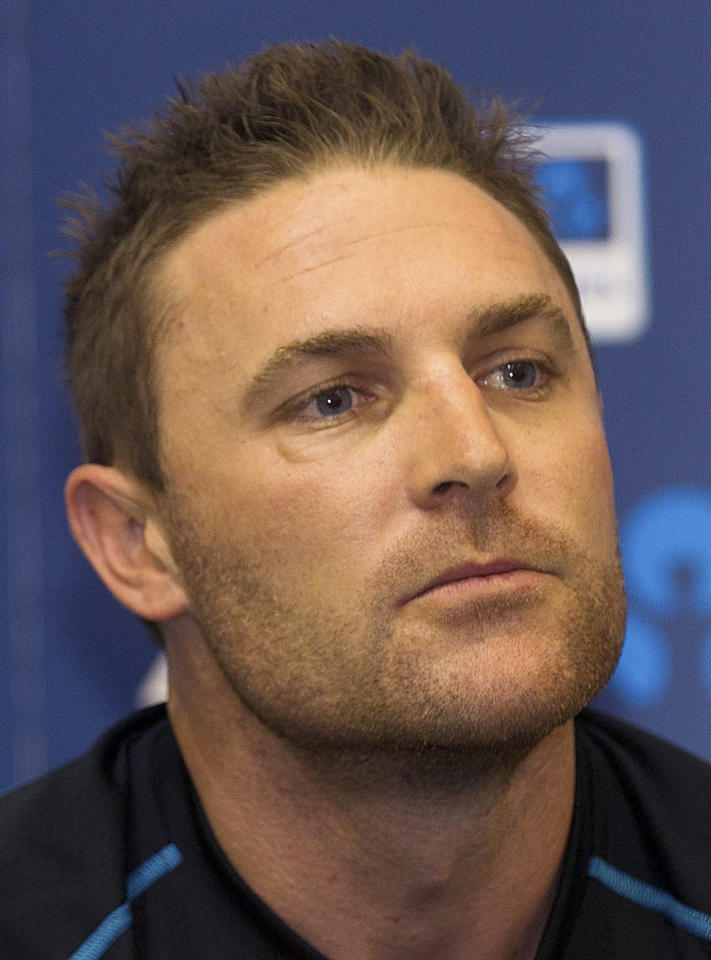 New Zealand's captain Brendon McCullum speaks to the media during a press conference after play was cancelled on day five of the international cricket Test match between New Zealand and England played at the Basin Reserve in Wellington on March 18, 2013. The second Test between New Zealand and England was declared a draw Monday after the final day's play at Wellington's Basin Reserve was abandoned due to persistent rain.          AFP PHOTO / Marty MELVILLE