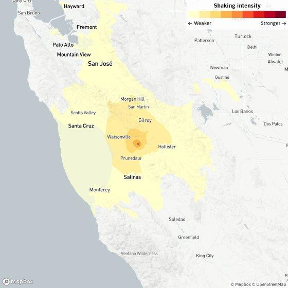 A map of the impact of Saturday's earthquake.