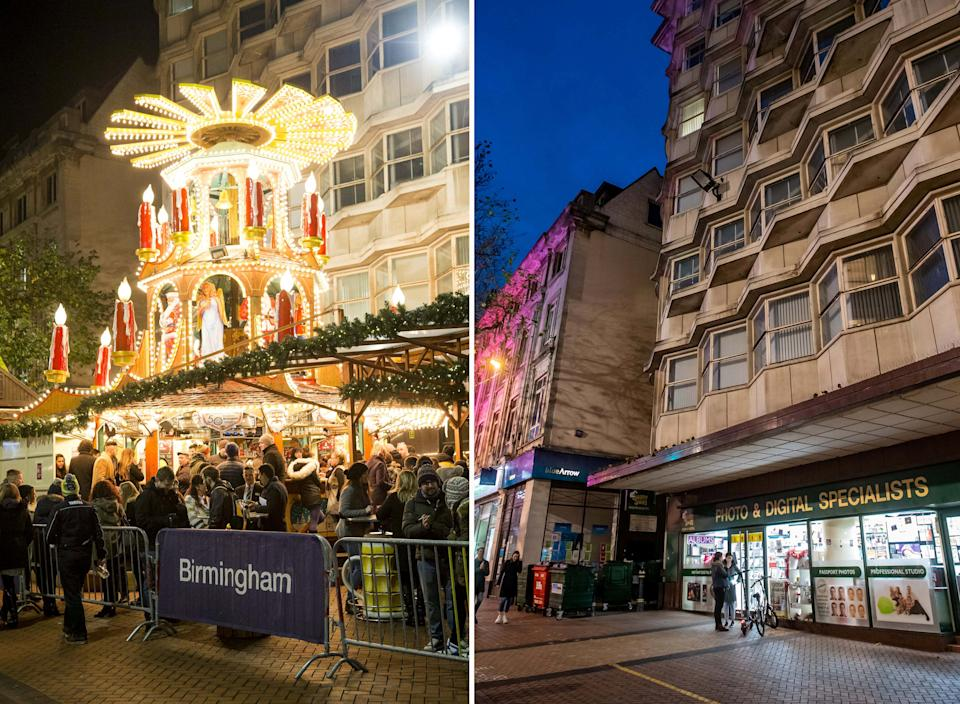 Composite picture showing the Christmas market on New Street, Birmingham, in years gone by (L) and the same scene pictured looking near deserted in 2020 (R).  See SWNS story SWMDxmas.  Eerie photographs show the deserted streets of British cities where Christmas markets would now be in full swing if they hadn't been cancelled due to coronavirus.  Disheartening images show the empty squares of Birmingham, Manchester, Edinburgh, Leeds and Bath compared to the thriving scenes of festive activity in years gone by.  Millions of visitors flock to the winter wonderlands to enjoy fairground rides and stalls selling handmade gifts, bratwurst, roasted chestnuts, mince pies and mulled wine.  But the Covid-19 pandemic has forced the attractions to be scrapped this year as comparison photos give a sobering look at what to expect for Christmas 2020.