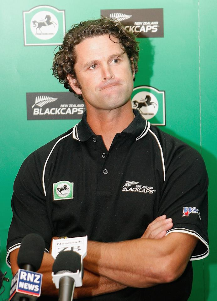 New Zealand cricketer Chris Cairns pauses at a news conference January 23, 2006 in Christchurch, New Zeland. Cairns announced he will retire from international cricket after the   Twenty20 match on February 16, 2006.