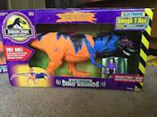 """<p>We all loved Steven Spielberg's 1993 film about a theme park gone wrong, and there's lot of merchandise to prove it. If you held on to the original '90s action figures and kept them in good condition, <a href=""""http://www.ebay.tv/sch/i.html?_odkw=Masters+of+the+Universe+Eternia+Playset&_sop=16&_osacat=868&_from=R40&_trksid=p2045573.m570.l2632.R2.TR12.TRC2.A0.H0.Xjurassi.TRS0&_nkw=jurassic+park&_sacat=246"""" rel=""""nofollow noopener"""" target=""""_blank"""" data-ylk=""""slk:they can be worth several hundred dollars"""" class=""""link rapid-noclick-resp"""">they can be worth several hundred dollars</a> each these days. T-Rex is the most sought after — <a href=""""https://go.redirectingat.com?id=74968X1596630&url=http%3A%2F%2Fwww.ebay.com%2Fitm%2FOmega-Bull-Rex-Jurassic-Park-%2F222054778736%3Fhash%3Ditem33b37f0770%253Ag%253AYaIAAOSwuTxWAX5X&sref=https%3A%2F%2Fwww.countryliving.com%2Fshopping%2Fantiques%2Fg3141%2Fmost-valuable-toys-from-childhood%2F"""" rel=""""nofollow noopener"""" target=""""_blank"""" data-ylk=""""slk:this one is listed at $1,250"""" class=""""link rapid-noclick-resp"""">this one is listed at $1,250</a>.</p>"""