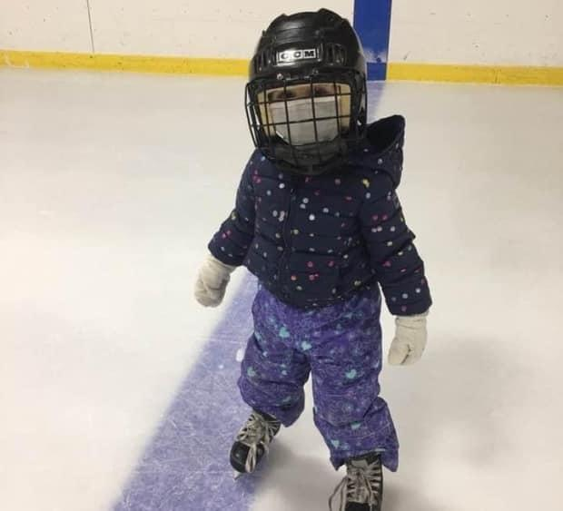 My three-year-old niece, Kinley Allen, learns to skate at Hodgeville rink this past winter.