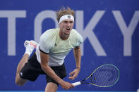 Alexander Zverev, of Germany, serves to Karen Khachanov, of the Russian Olympic Committee, during the men's single gold medal match of the tennis competition at the 2020 Summer Olympics, Sunday, Aug. 1, 2021, in Tokyo, Japan. (AP Photo/Patrick Semansky)