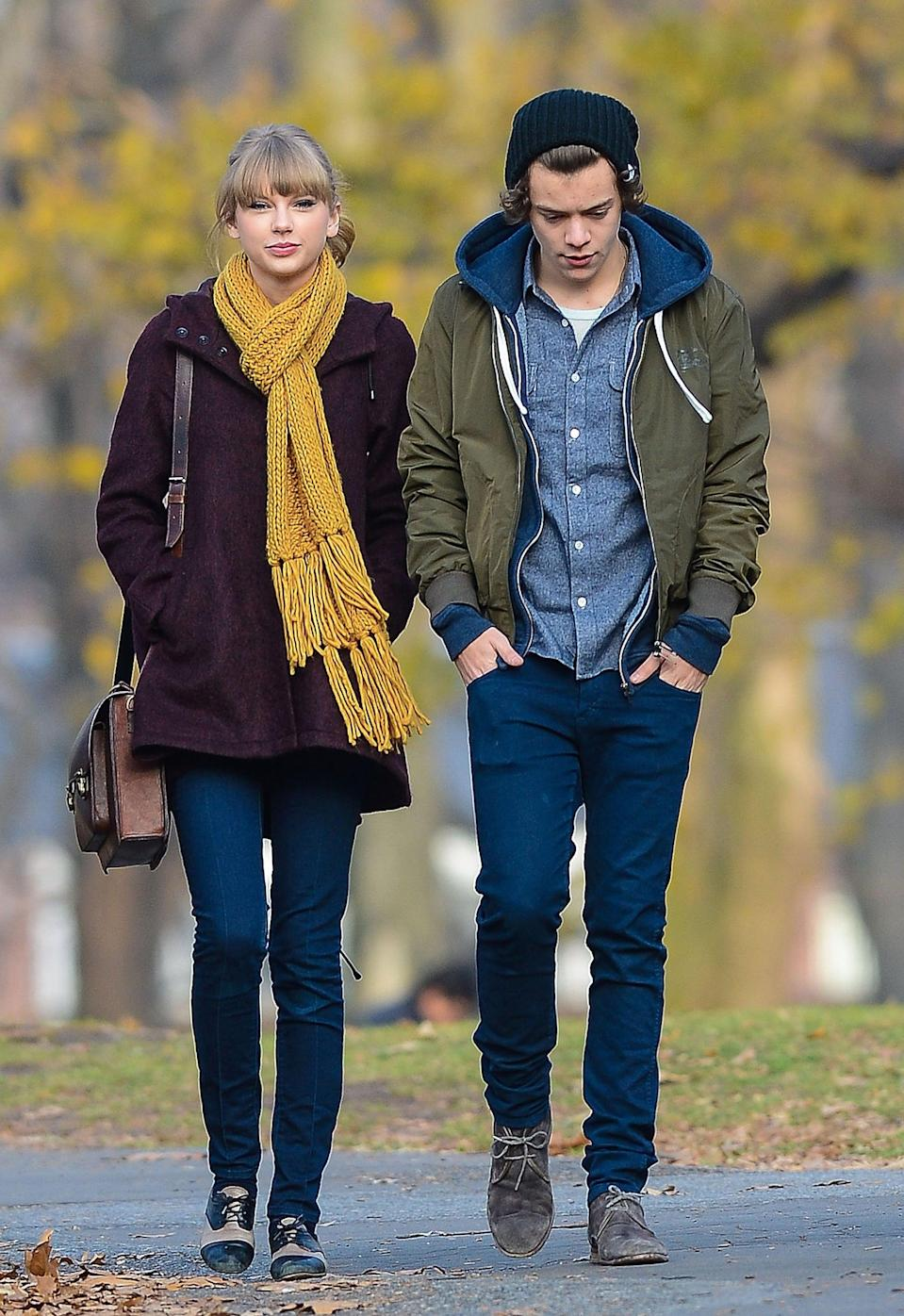 """<p><strong>When:</strong> December 2012 - January 2013</p> <p>Taylor's roller coaster relationship with One Direction's Harry Styles might have only lasted a month, but it had to have been passionate. How else did she get <a href=""""https://www.popsugar.com/entertainment/Best-Songs-From-Taylor-Swift-Album-1989-36003858"""" class=""""link rapid-noclick-resp"""" rel=""""nofollow noopener"""" target=""""_blank"""" data-ylk=""""slk:an entire album"""">an entire album</a> out of it?! Harry and Taylor were seen strolling through NYC in December 2012 and even ushered in the new year with <a href=""""https://www.popsugar.com/celebrity/Taylor-Swift-Harry-Styles-New-Year-Eve-Pictures-26546559"""" class=""""link rapid-noclick-resp"""" rel=""""nofollow noopener"""" target=""""_blank"""" data-ylk=""""slk:a kiss at midnight"""">a kiss at midnight</a>. Before January was over, they'd called it quits, and one of Taylor's biggest singles off of <strong>Red</strong>, """"I Knew You Were Trouble,"""" started a long list of songs inspired by him.</p>"""