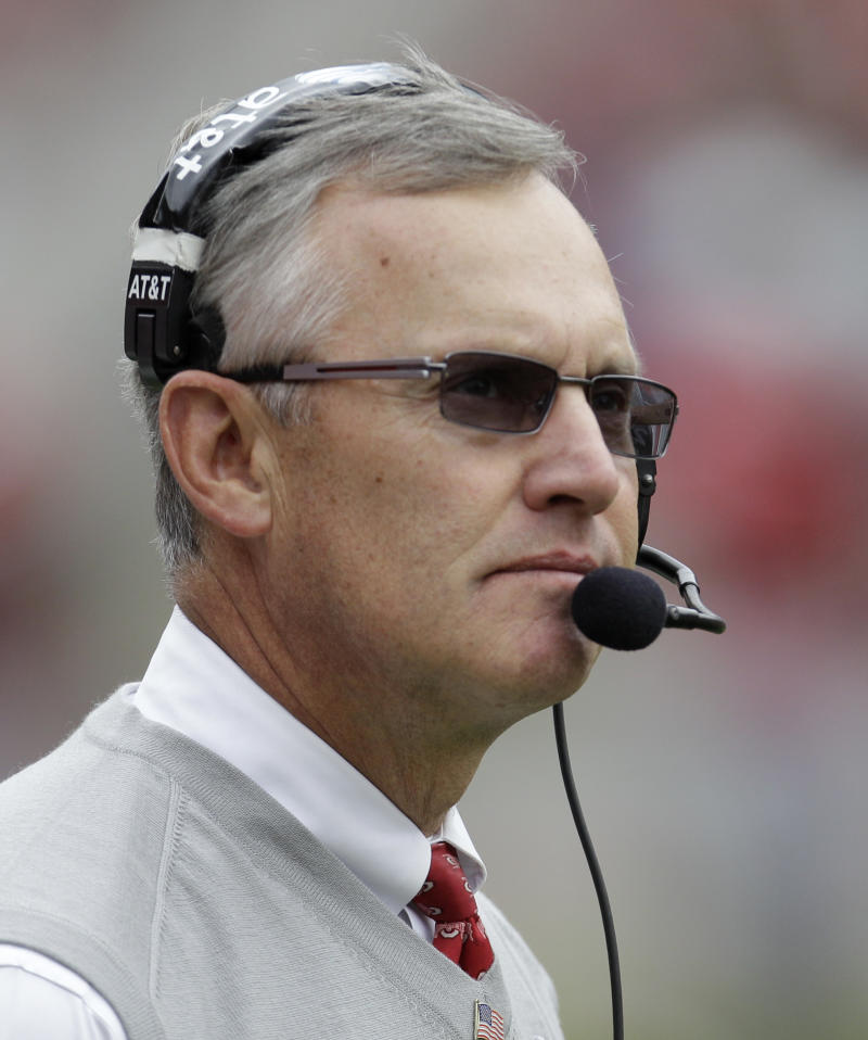 FILE - In this Oct. 23, 2010 file phot, Ohio State coach Jim Tressel looks on during the first half of an NCAA college football game against Purdue in Columbus, Ohio. Tressel was hired Friday, Sept. 2, 2011, by the Indianapolis Colts as a game-day consultant to help determine when the team should challenge plays.  (AP Photo/Tony Dejak, File)