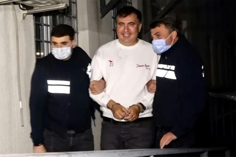Mikheil Saakashvili was detained on the eve of local elections (AFP/Handout)
