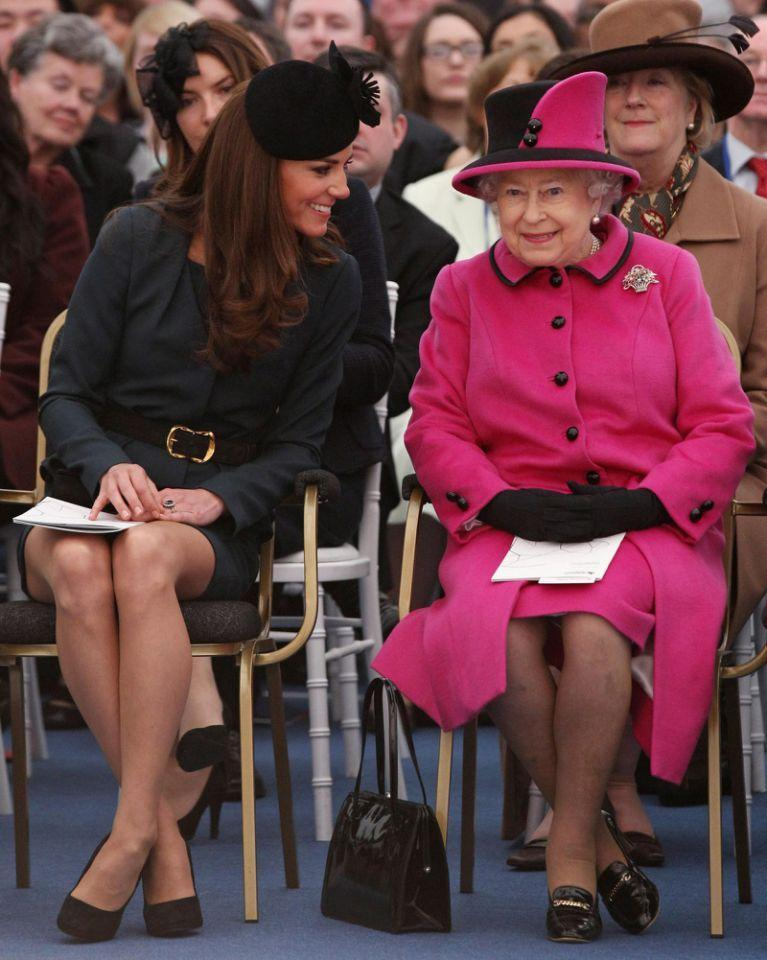 <p>The Duchess of Cambridge accompanies The Queen to watch a fashion show at De Montfort University in Leicester during a visit to the city as part of the Diamond Jubilee Tour. (Oli Scarff/PA Wire) </p>