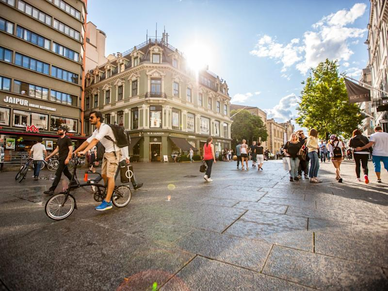 Restricted car zones and increased spaces for cyclists and pedestrians have helped reduce traffic accidents in Oslo: Getty Images
