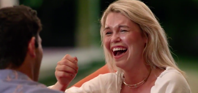 Simone definitely read that Cosmo piece that said laughing exuberantly at men's jokes makes them like you. Source: Channel Ten