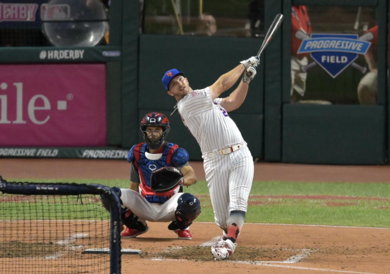 Jul 8, 2019; Cleveland, OH, USA; New York Mets first baseman Pete Alonso (20) during the first round in the 2019 MLB Home Run Derby at Progressive Field. Mandatory Credit: David Richard-USA TODAY Sports