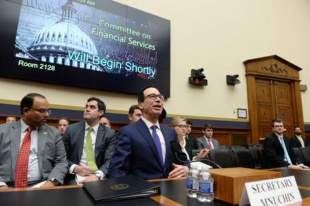 "Treasury Secretary Steven Mnuchin testifies before the House Financial Services Committee hearing on ""The Annual Testimony of the Secretary of the Treasury on the State of the International Financial System"" in Washington, U.S., May 22, 2019. REUTERS/Mary F. Calvert"