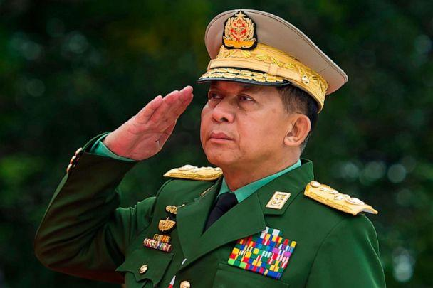 PHOTO: (FILES) In this file photo taken on July 19, 2018, Myanmar's Chief Senior General Min Aung Hlaing, commander-in-chief of the Myanmar armed forces, salutes to pay his respects to Myanmar independence hero General Aung San.  (Ye Aung Thu/AFP via Getty Images)
