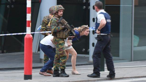 PHOTO: Soldiers and police officials guide members of the public on a street outside Gare Centrale in Brussels on June 20, 2017, after an explosion in the Belgian capital. (Emmanuel Dunand/AFP/Getty Images)