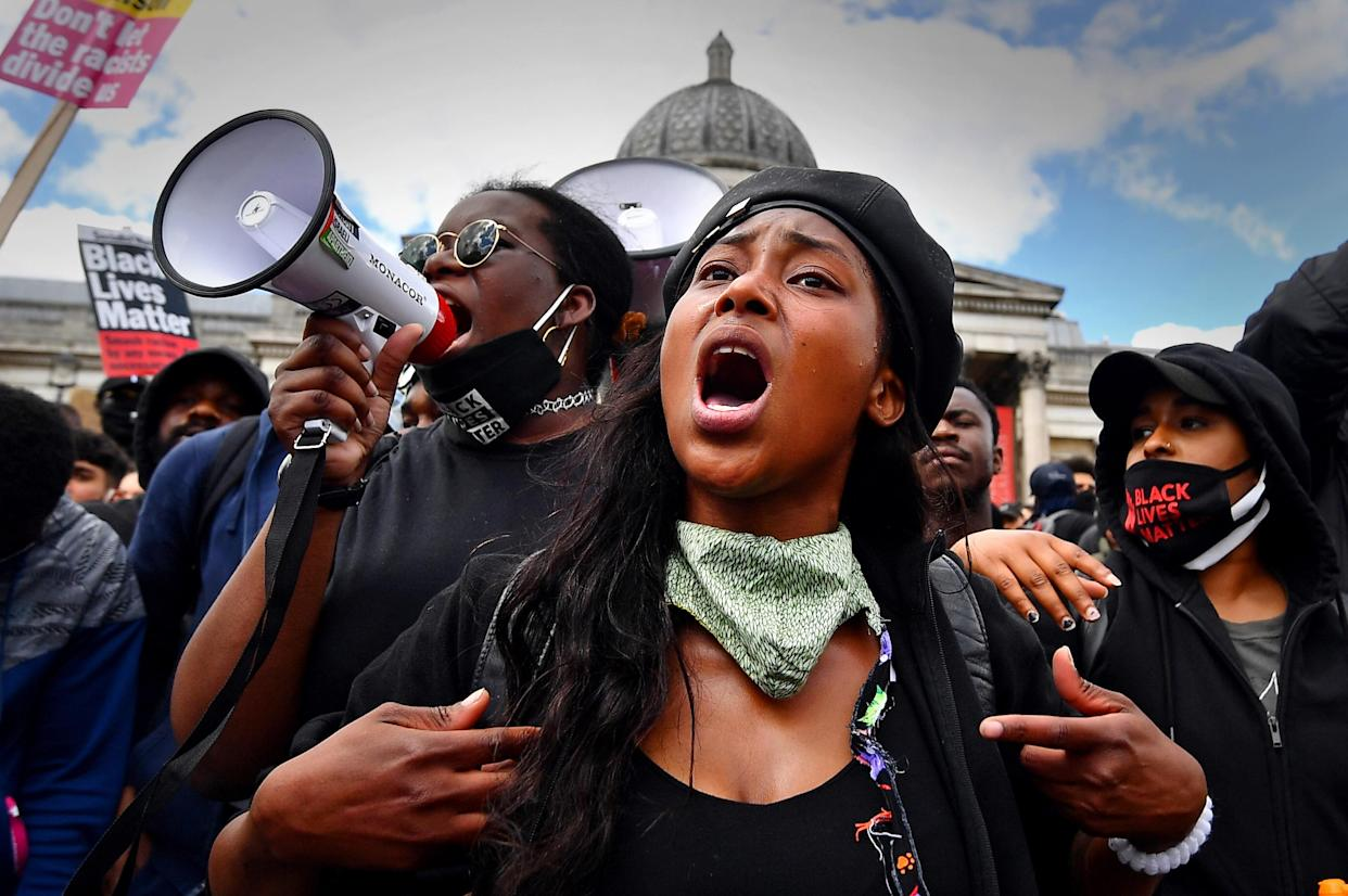 Sasha Johnson at a Black Lives Matter protest rally in Trafalgar Square, London, last year. The mother-of-three was shot in the head during the early hours of Sunday. (Victoria Jones/PA)
