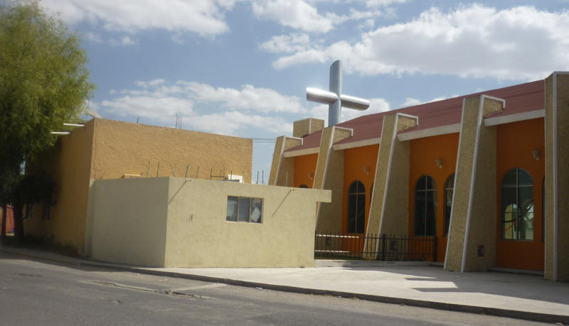 This photo taken Oct. 19, 2010 shows a church in the neighborhood of Tezontle, in Pachuca, Mexico. The church bears a plaque thanking the major donor who built it, Heriberto Lazcano Lazcano, the leader of the Zetas, one of Mexico's most violent drug cartels. The Archdiocese of Mexico has distanced itself from the property, while admitting that it knows or suspects other cases in which drug traffickers have funded local church projects. (AP Photo/Victor Valera)