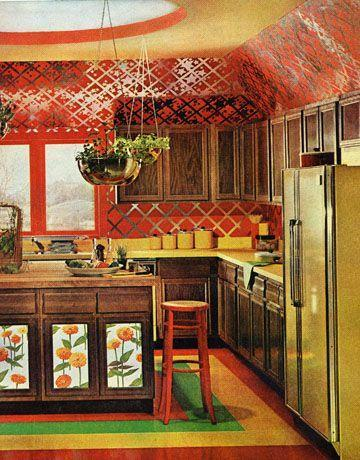 <p>The '60s ushered in daring design and the '70s took it up to a very experimental place. Case in point: This rule-breaking kitchen that combines saturated color with foil wallpaper (in two prints!), wood cabinets, and avocado appliances. </p>