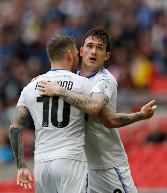 Soccer Football - National League Promotion Final - Tranmere Rovers v Boreham Wood - Wembley Stadium, London, Britain - May 12, 2018 Tranmere Rovers' Andy Cook celebrates scoring their first goal with James Norwood Action Images/Andrew Couldridge