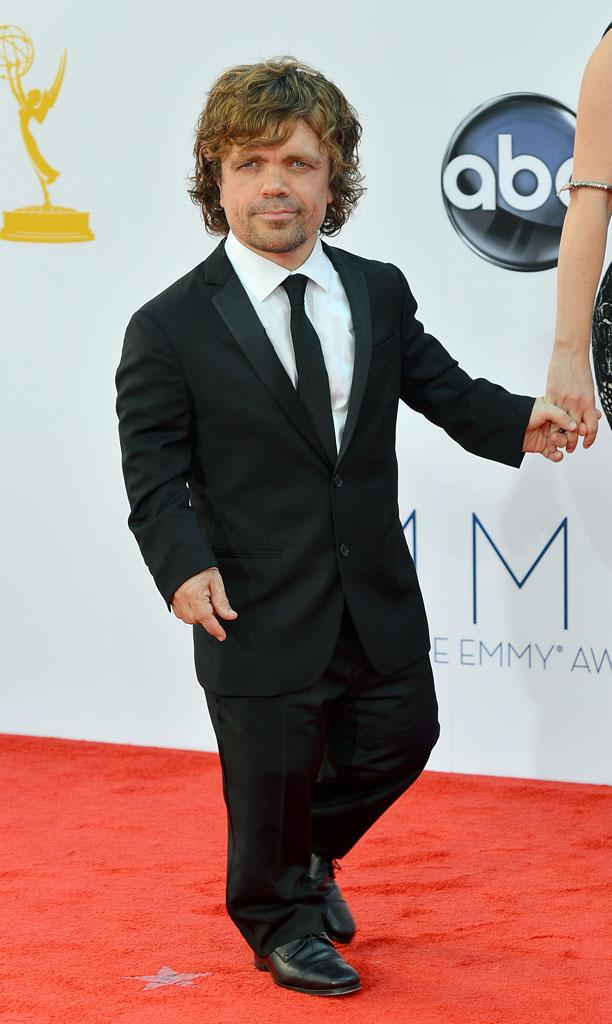 Peter Dinklage arrives at the 64th Primetime Emmy Awards at the Nokia Theatre in Los Angeles on September 23, 2012.