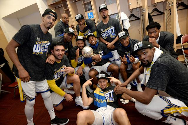 The Warriors soak in advancing to the NBA Finals once again. (Getty)
