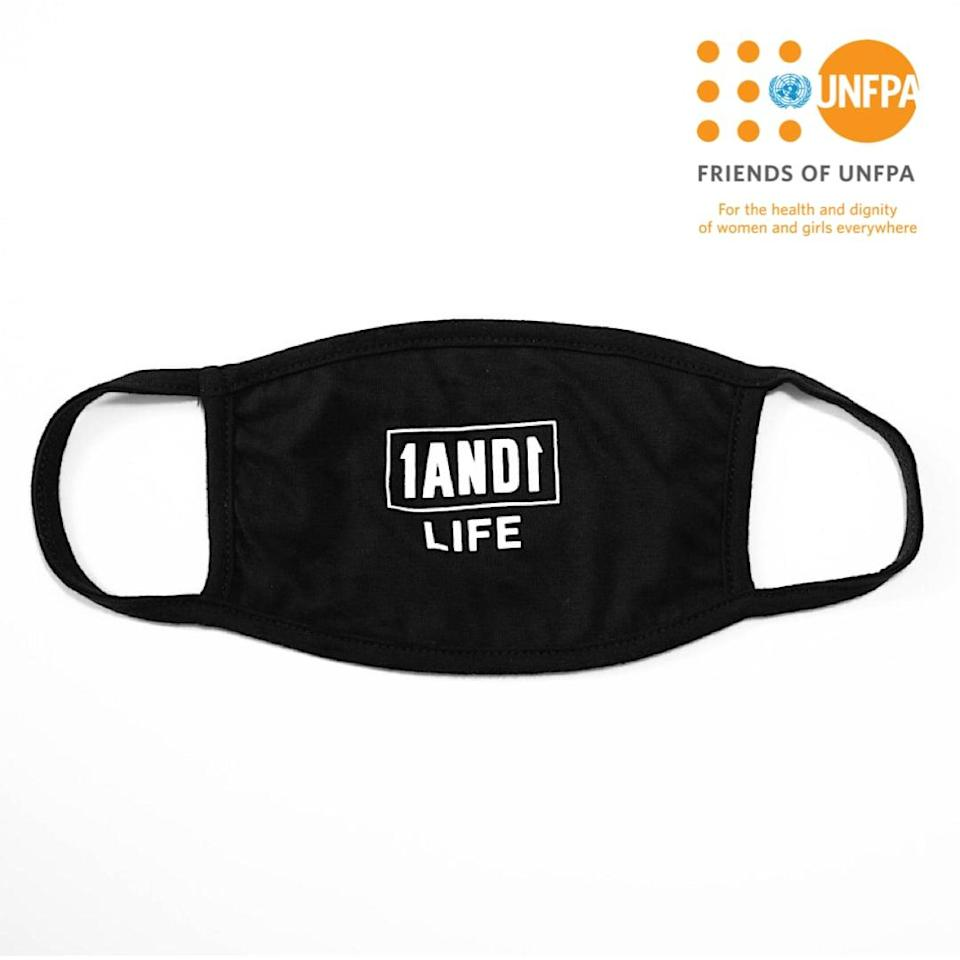 """<p>This double-layered <span>1AND1 Life x UNFPA Reusable Face Mask</span> ($12) is washable, reusable, and made with comfortable cotton and polyester. One-hundred percent of the proceeds are donated to <a href=""""https://www.friendsofunfpa.org/"""" class=""""link rapid-noclick-resp"""" rel=""""nofollow noopener"""" target=""""_blank"""" data-ylk=""""slk:Friends of UNFPA"""">Friends of UNFPA</a>, the official nonprofit of <a href=""""https://www.unfpa.org/"""" class=""""link rapid-noclick-resp"""" rel=""""nofollow noopener"""" target=""""_blank"""" data-ylk=""""slk:UNFPA"""">UNFPA</a>, the United Nations reproductive health and rights agency.</p>"""