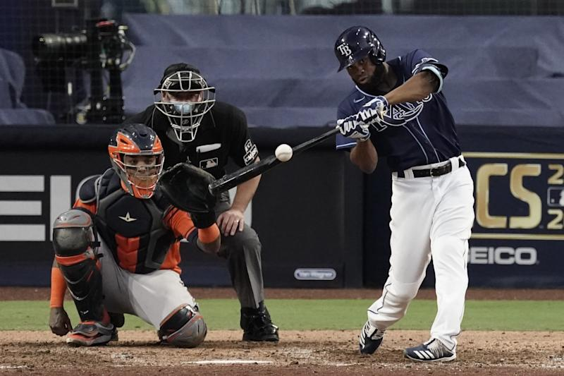 Tampa Bay Rays' Manuel Margot hits a solo home run.