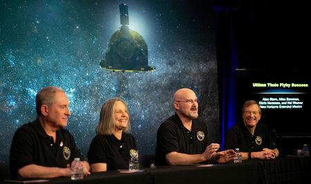 New Horizons principal investigator Alan Stern of the Southwest Research Institute (SwRI), New Horizons Mission Operations Manager Alice Bowman of the Johns Hopkins University Applied Physics Laboratory (APL), New Horizons mission systems engineer Chris Hersman of Johns Hopkins University APL and New Horizons project scientist Hal Weaver of Johns Hopkins University APL, participate in a news conference after the team received confirmation from the New Horizons spacecraft that it has completed the flyby of Ultima Thule, in Laurel, Maryland, U.S., January 1, 2019. NASA/Joel Kowsky/Handout via REUTERS