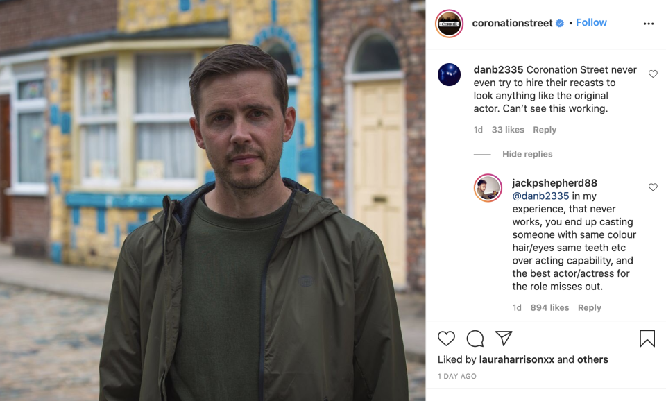 Jack P Shepherd responded to a fan's comments on recasting in soaps. (ITV/Instagram)