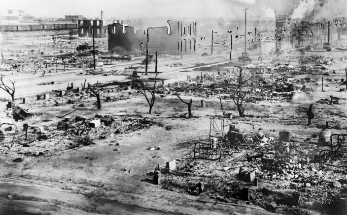 The aftermath of the Tulsa Race Massacre, during which mobs of white residents attacked Black residents and businesses of the Greenwood District in Tulsa, Oklahoma, US, June 1921. (Photo by Bettmann Archive/Getty Images)