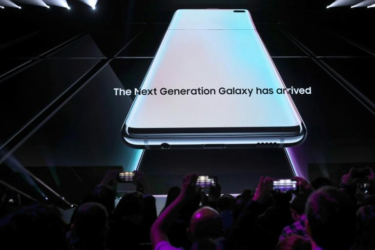 The new Samsung Galaxy S10 smartphone is shown during the Samsung Unpacked event in San Francisco, California